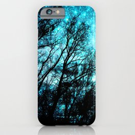 black trees turquoise teal space iPhone Case