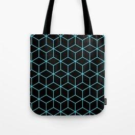 3-D Cube Pattern (Aqua on Black) Tote Bag