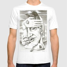 080214 MEDIUM White Mens Fitted Tee