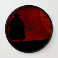 vendetta Wall Clocks featuring V for Vendetta (e3) by Ezgi Kaya