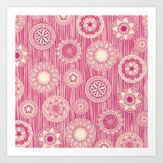 mandala cirque spot pink cream Art Print