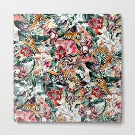 Tigers and Flowers II Metal Print