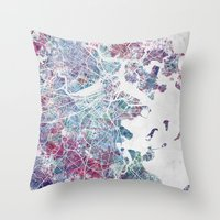boston map Throw Pillows featuring Boston map by MapMapMaps.Watercolors