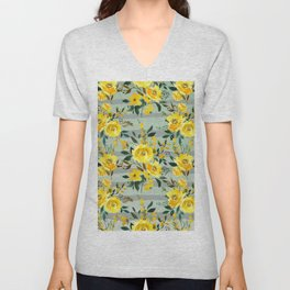 Modern hand painted yellow green watercolor stripes floral Unisex V-Neck
