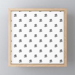 Black and White OM Pattern Framed Mini Art Print