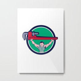 Plumber Weightlifter Monkey Wrench Circle Cartoon Metal Print