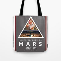 30 seconds to mars Tote Bags featuring 30 Seconds To Mars by Andrea Valentina