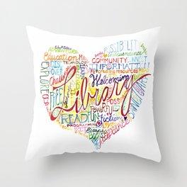 Library Heart Throw Pillow