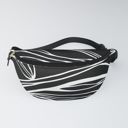 Abstract Swirling Waves / Black and White Fanny Pack