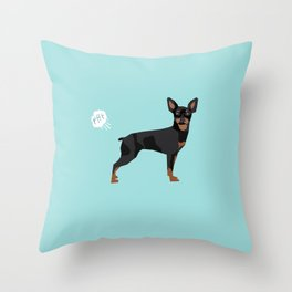 min pin miniature doberman pinscher farting dog cute funny dog gifts pure breed dogs Throw Pillow