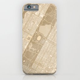 Vintage map of Manhattan Central park in sepia iPhone Case