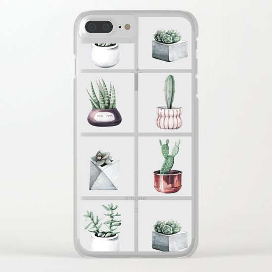 Cactus Bunch Grid Rose Gold Gray Green Clear iPhone Case