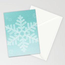 Snowfake Greeting - Ombre Teal Stationery Cards