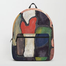 Colorful Abstract art turquoise, red green mix with gold dust Backpack