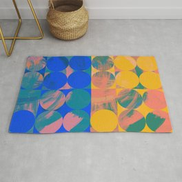 Pop Art Pattern Abstract in Yellow and Blue Rug