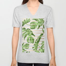 Simply Tropical White Gold Sands Stripes and Palm Leaves Unisex V-Neck