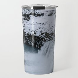 Waterfall in Icelandic highlands during winter with mountain - Landscape Photography Travel Mug