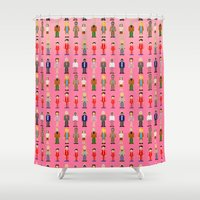 royal tenenbaums Shower Curtains featuring The Royal Pixelbaums by Isabel