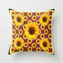 Brown & Violet Accents Color Sunflowers Pattern Black Art Throw Pillow