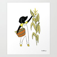 Sato Farmer (Dogs with Jobs series) Art Print