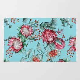 King protea flowers watercolor illustration Rug