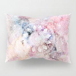 Whimsical white watercolor mandala design Pillow Sham