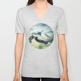 Flying Green Sea Turtle Unisex V-Neck