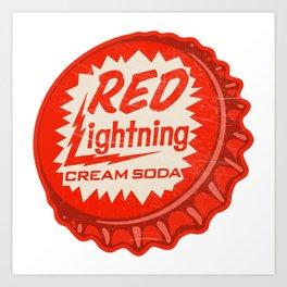 Vintage Red Lightning Cream Soda Bottle Cap Art Print