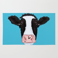 cow Area & Throw Rugs featuring Cow by Compassion Collective