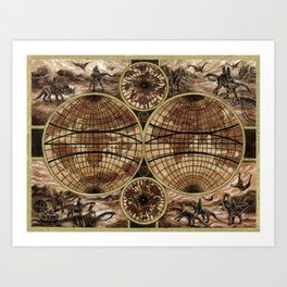 """Victorians Riding Dinosaurs - Double Hemisphere Map"" Art Print"