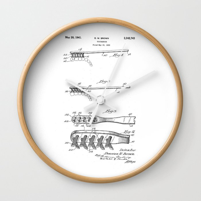 patent art Brown Toothbrush 1939 Wall Clock