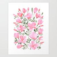 Pink watercolor poppies Art Print