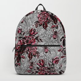Vintage Roses and Spiders on Lace Halloweeen Watercolor Backpack