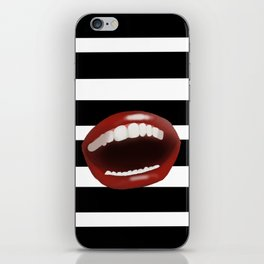 RedLips on a black and white iPhone Skin