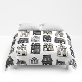 Mansard Mansions in Black + White Watercolor Comforters