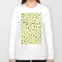 notebook Long Sleeve T-shirts featuring Flying Birds on a notebook by Fun & Art