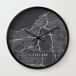 Cleveland Map, USA - Gray Wall Clock