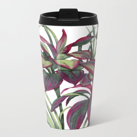 Tropical Leaves Sing Metal Travel Mug