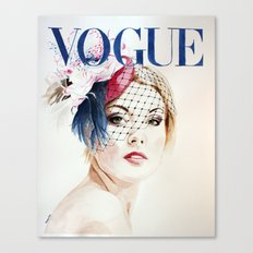 Vogue Magazine Cover. Hat by Ella Gajewska. Fashion Illustration Canvas Print