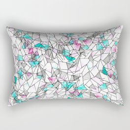 Pink and Teal Abstract Watercolor and Geometric Rectangular Pillow