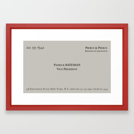 American psycho patrick bateman business card framed art print by american psycho patrick bateman business card framed art print by skjelseth society6 reheart Image collections