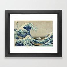 Great Wave Off Kanagawa (Kanagawa oki nami-ura or 神奈川沖浪裏) Framed Art Print