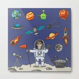 Space Elements Set Metal Print