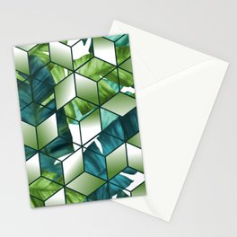 Tropical Cubic Effect Banana Leaves Design Stationery Cards
