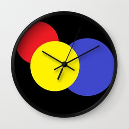 Red Yellow & Blue : Mod Circles Wall Clock