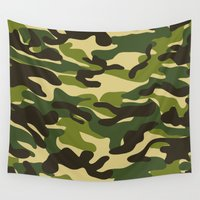 military Wall Tapestries featuring Fashion Military Camouflage Pattern by SW Creation