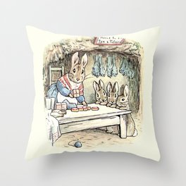 Josephine Rabbit in the Kitchen Throw Pillow