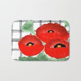 Poppies and Plaid Bath Mat