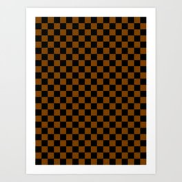 Black and Chocolate Brown Checkerboard Art Print