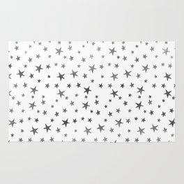 Mini Stars - Silver on White Rug